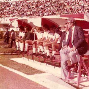 Daniel Passarella, Luis Landaburu, Reinaldo Merlo, Hugo Pena, Jorge Ghiso, el doctor Héctor Milito y el entrenador Angel Labruna.
